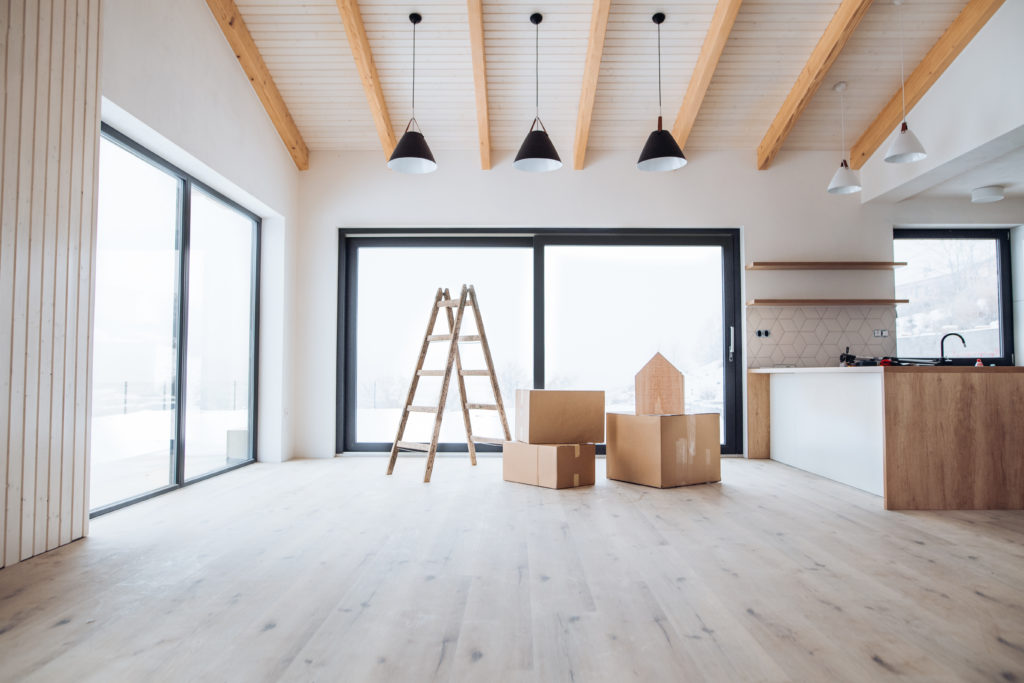 An interior of a new house with moving boxes